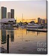 Port Of Miami At Sunset Canvas Print