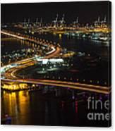 Port Of Miami Macarthur Causeway Canvas Print