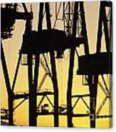 Port Of Seattle Cranes Silhouetted Canvas Print