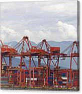 Port Of Vancouver Bc Cranes And Containers Canvas Print