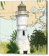 Port Pontchartrain Lighthouse La Chart Map Art Canvas Print