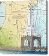 Port Washington Lighthouse Wi Nautical Chart Map Art Canvas Print