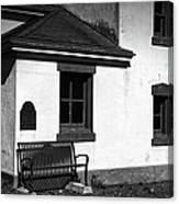 Port Wilson Lighthouse Bench Bw Canvas Print