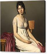 Portait Of A Young Woman In White Canvas Print
