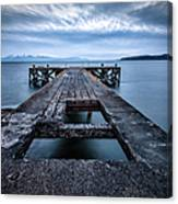 Portencross Pier  And Views To Arran Canvas Print