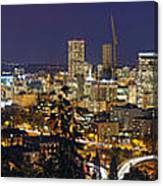Portland Cityscape And Freeway At Blue Hour Canvas Print