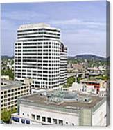 Portland Downtown Cityscape With River And Mountain Canvas Print