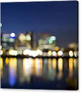 Portland Downtown Out Of Focus City Lights Canvas Print