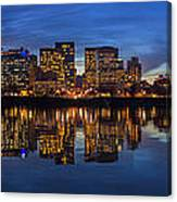 Portland Downtown Skyline At Blue Hour Panorama Canvas Print