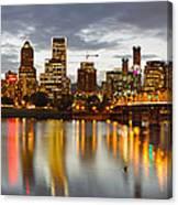 Portland Downtown Skyline At Sunset Canvas Print