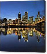 Portland Downtown Skyline By Hawthorne Bridge At Blue Hour Panor Canvas Print