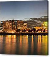 Portland Downtown Skyline Night Panorama Canvas Print