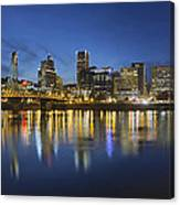 Portland Downtown With Hawthorne Bridge At Blue Hour Canvas Print