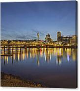 Portland Downtown With Hawthorne Bridge At Dusk Canvas Print