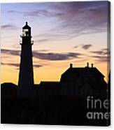 Portland Head Light Silhouette  Canvas Print