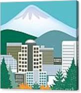 Portland Oregon Vertical Skyline Canvas Print