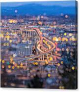 Portland Marquam Freeway With Bokeh Lights Canvas Print