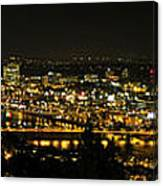 Portland Night Skyline Along Willamette River Panorama Canvas Print