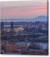 Portland Oregon And Mt St Helens During Sunrise Canvas Print