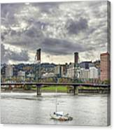 Portland Oregon Downtown Along Willamette River Canvas Print