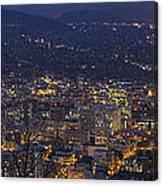 Portland Oregon Downtown Cityscape At Blue Hour Canvas Print