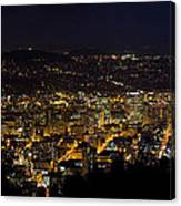 Portland Oregon Downtown Cityscape At Night Canvas Print