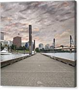 Portland Oregon Downtown Skyline By The Marina At Sunset Canvas Print