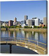 Portland Oregon Downtown Skyline Reflection 4 Canvas Print
