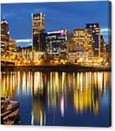 Portland Oregon Downtown Waterfront At Blue Hour Canvas Print
