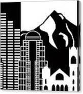 Portland Oregon Skyline Black And White Illustration Canvas Print