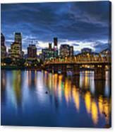 Portland Oregon Waterfront At Blue Hour Canvas Print