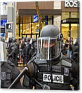Portland Police In Riot Gear Closeup Canvas Print