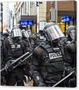 Portland Police In Riot Gear Canvas Print