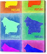 Portland Pop Art Map 3 Canvas Print