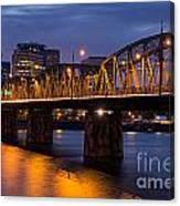 Portland Skyline And Hawthorne Bridge Canvas Print