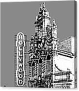 Portland Skyline Hollywood Theater - Pewter Canvas Print