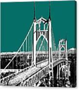 Portland Skyline St. Johns Bridge - Sea Green Canvas Print