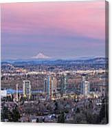 Portland South Waterfront At Sunset Panorama Canvas Print