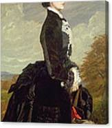 Portrait Of A Lady In Black With A Dog Canvas Print