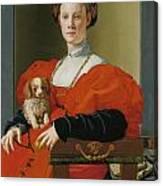 Portrait Of A Lady With A Lapdog Canvas Print
