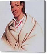 Portrait Of A-mis-quam, A Winnebago Brave Coloured Engraving Canvas Print