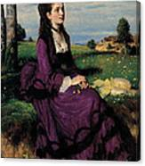 Portrait Of A Woman In Lilac Canvas Print
