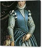 Portrait Of A Woman With A Dog Canvas Print
