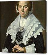 Portrait Of A Woman With A Fan Canvas Print