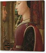 Portrait Of A Woman With A Man At A Casement Canvas Print