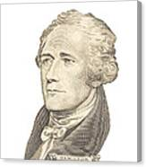 Portrait Of Alexander Hamilton On White Background Canvas Print