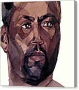 Watercolor Portrait Of An Athlete Canvas Print
