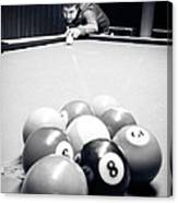 Portrait Of An Awesome Pool Player Canvas Print