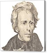 Portrait Of Andrew Jackson On White Background Canvas Print