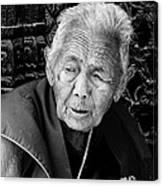 Portrait Of Elderly Woman Canvas Print